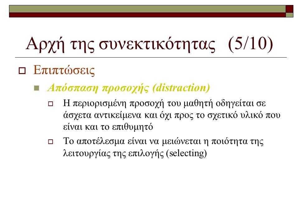 Αρχή της συνεκτικότητας (5/10)  Επιπτώσεις  Απόσπαση προσοχής (distraction)  Η περιορισμένη προσοχή του μαθητή οδηγείται σε άσχετα αντικείμενα και