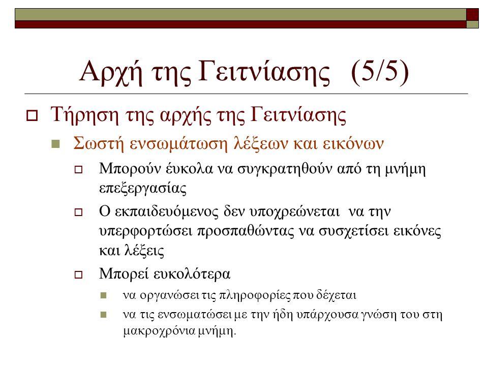Αρχή της Γειτνίασης (5/5)  Τήρηση της αρχής της Γειτνίασης  Σωστή ενσωμάτωση λέξεων και εικόνων  Μπορούν έυκολα να συγκρατηθούν από τη μνήμη επεξερ