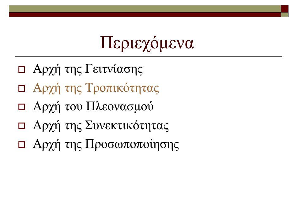 Αρχή της Τροπικότητας (1/10)  Γραφικό με αφήγηση  Στην ταυτόχρονη παρουσίαση γραφικού και λέξεων  Όταν το γραφικό είναι σύνθετο και συντελεί στην επεξήγηση  Οι λέξεις θα πρέπει να δίνονται με τη μορφή αφήγησης και όχι ως γραπτό κείμενο  Ακουστική τροπικότητα: ο μαθητής εστιάζει περισσότερο στο οπτικό ερέθισμα που παρέχεται από το γραφικό  Ταυτόχρονα ακούει την επεξήγησή του μέσω της αφήγησης