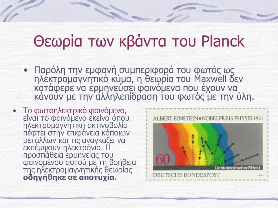 Θεωρία των κβάντα του Planck •Π•Παρόλη την εμφανή συμπεριφορά του φωτός ως ηλεκτρομαγνητικό κύμα, η θεωρία του Maxwell δεν κατάφερε να ερμηνεύσει φαιν