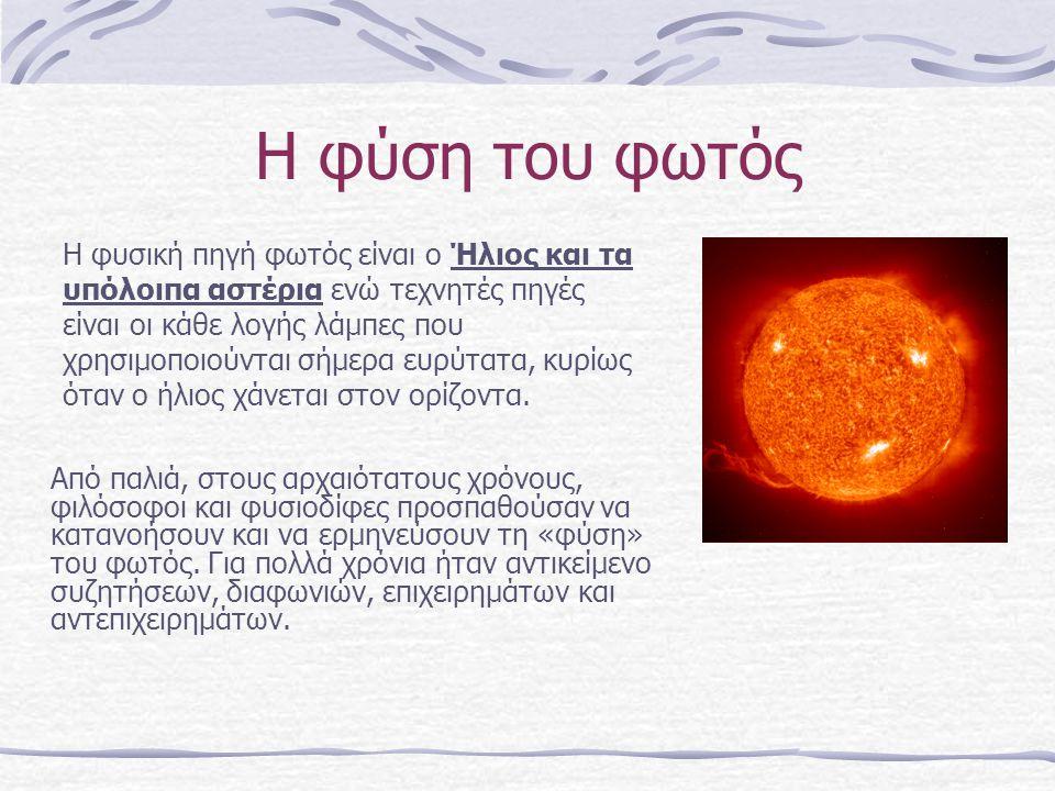 Η φύση του φωτός Από παλιά, στους αρχαιότατους χρόνους, φιλόσοφοι και φυσιοδίφες προσπαθούσαν να κατανοήσουν και να ερμηνεύσουν τη «φύση» του φωτός. Γ