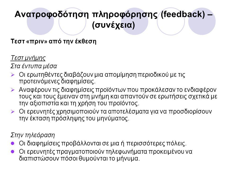 Ανατροφοδότηση πληροφόρησης (feedback) – (συνέχεια) Τεστ «πριν» από την έκθεση Τεστ μνήμης Στα έντυπα μέσα  Οι ερωτηθέντες διαβάζουν μια απομίμηση περιοδικού με τις προτεινόμενες διαφημίσεις.