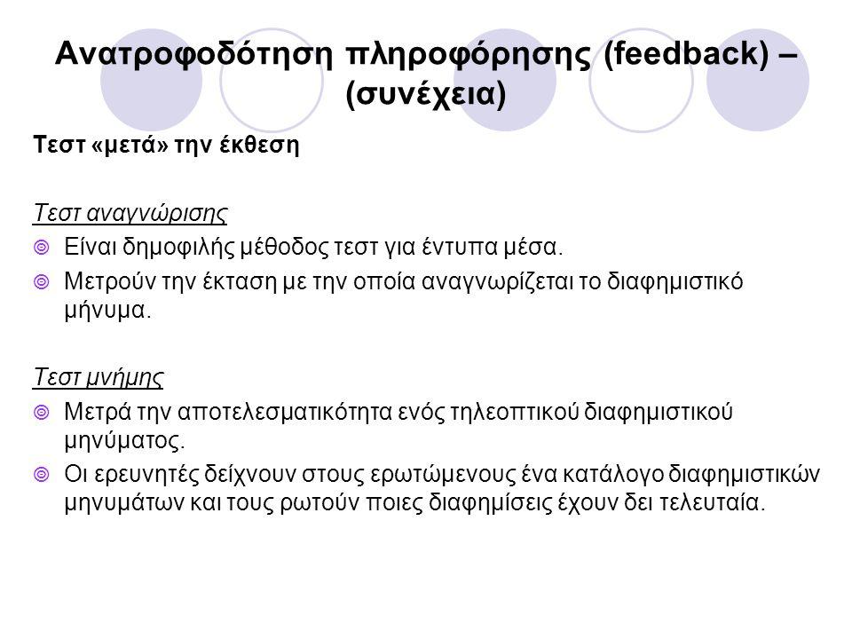 Ανατροφοδότηση πληροφόρησης (feedback) – (συνέχεια) Τεστ «μετά» την έκθεση Τεστ αναγνώρισης  Είναι δημοφιλής μέθοδος τεστ για έντυπα μέσα.