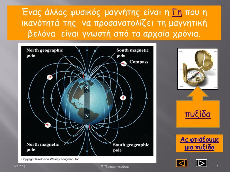 5 Ένας άλλος φυσικός μαγνήτης είναι η Γη που η ικανότητά της να προσανατολίζει τη μαγνητική βελόνα είναι γνωστή από τα αρχαία χρόνια.Γη πυξίδα 9/3/201 Ε.