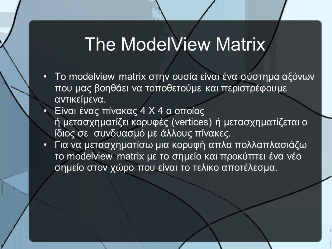 Matrix Stacks Για παράδειγμα αμα είμαι στο σημείο 0,0,0 και κάνω Push Matrix και αμέσως μετα κάνω 2 πράξεις translate (10,0,0) και (10,5,3) τοτε θα βρίσκομαι στο σημείο (20,5,3).