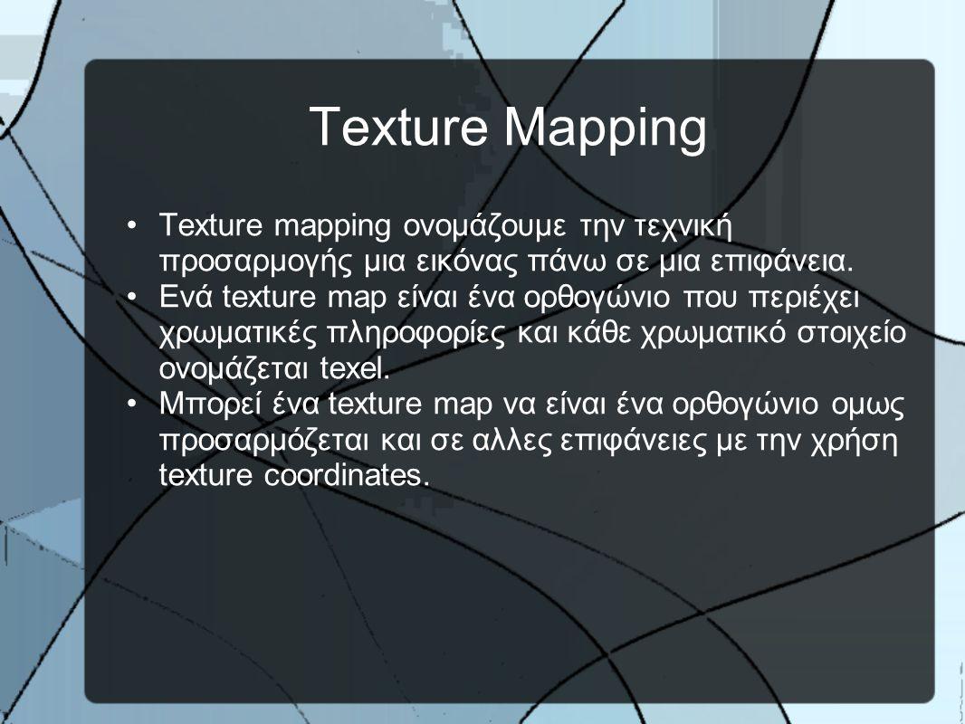 Texture Mapping •Texture mapping ονομάζουμε την τεχνική προσαρμογής μια εικόνας πάνω σε μια επιφάνεια.
