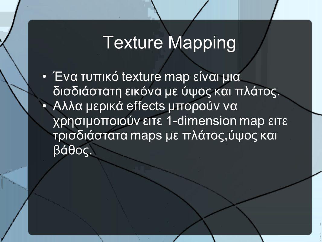 Texture Mapping •Ένα τυπικό texture map είναι μια δισδιάστατη εικόνα με ύψος και πλάτος.