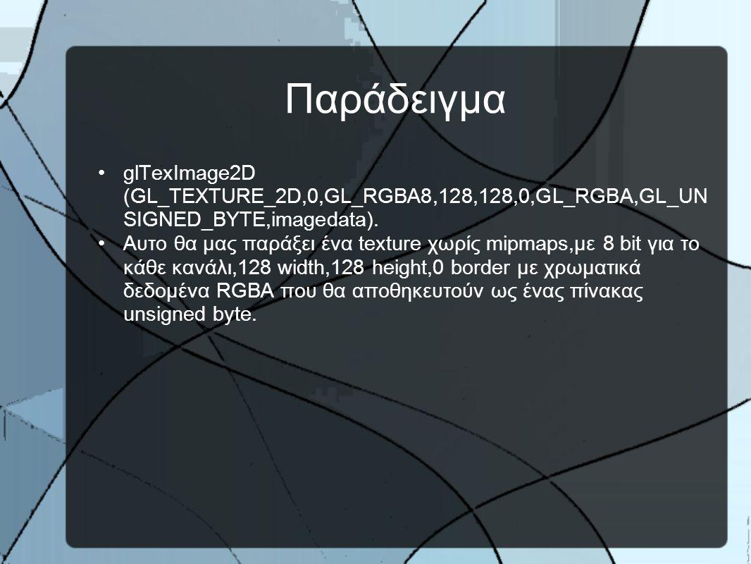 Παράδειγμα •glTexImage2D (GL_TEXTURE_2D,0,GL_RGBA8,128,128,0,GL_RGBA,GL_UN SIGNED_BYTE,imagedata).