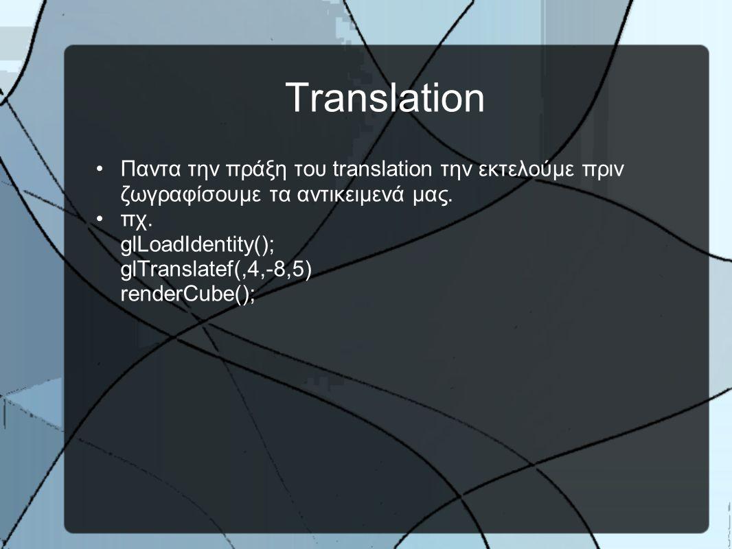 Translation •Παντα την πράξη του translation την εκτελούμε πριν ζωγραφίσουμε τα αντικειμενά μας.