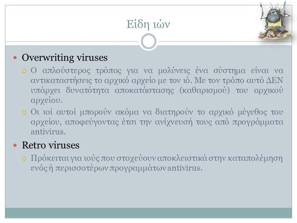 Είδη ιών  Overwriting viruses  Ο απλούστερος τρόπος για να μολύνεις ένα σύστημα είναι να αντικαταστήσεις το αρχικό αρχείο με τον ιό. Με τον τρόπο αυ