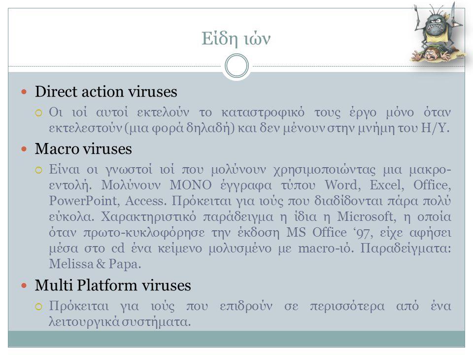 Είδη ιών  Direct action viruses  Οι ιοί αυτοί εκτελούν το καταστροφικό τους έργο μόνο όταν εκτελεστούν (μια φορά δηλαδή) και δεν μένουν στην μνήμη τ