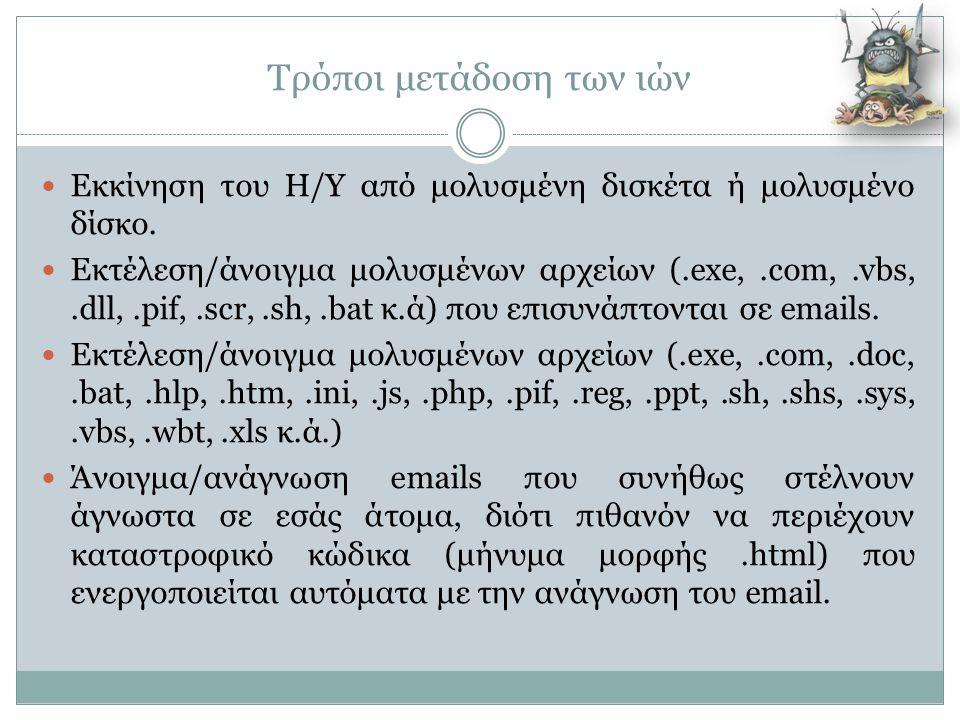Τρόποι μετάδοση των ιών  Εκκίνηση του Η/Υ από μολυσμένη δισκέτα ή μολυσμένο δίσκο.  Εκτέλεση/άνοιγμα μολυσμένων αρχείων (.exe,.com,.vbs,.dll,.pif,.s