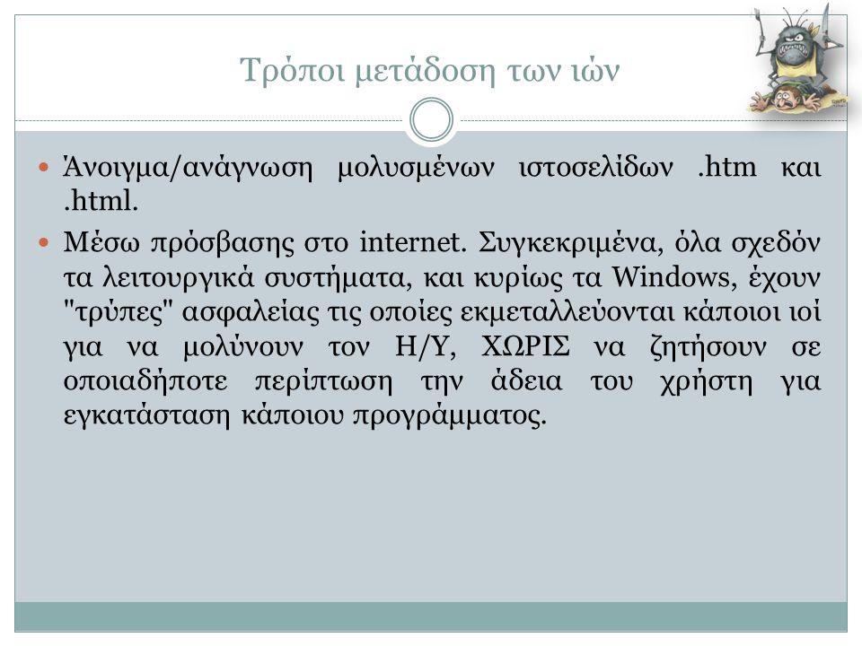 Τρόποι μετάδοση των ιών  Άνοιγμα/ανάγνωση μολυσμένων ιστοσελίδων.htm και.html.  Μέσω πρόσβασης στο internet. Συγκεκριμένα, όλα σχεδόν τα λειτουργικά