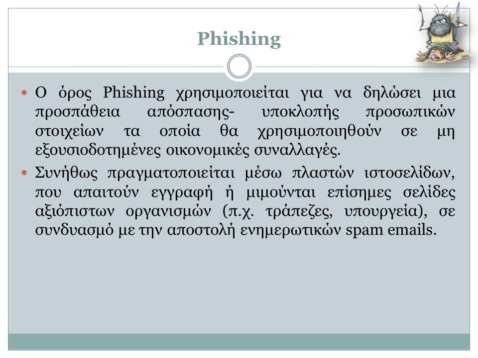 Phishing  Ο όρος Phishing χρησιμοποιείται για να δηλώσει μια προσπάθεια απόσπασης- υποκλοπής προσωπικών στοιχείων τα οποία θα χρησιμοποιηθούν σε μη ε