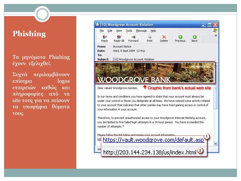 Phishing Τα μηνύματα Phishing έχουν εξελιχθεί. Συχνά περιλαμβάνουν επίσημα logos εταιρειών καθώς και πληροφορίες από τα site τους για να πείσουν τα υπ