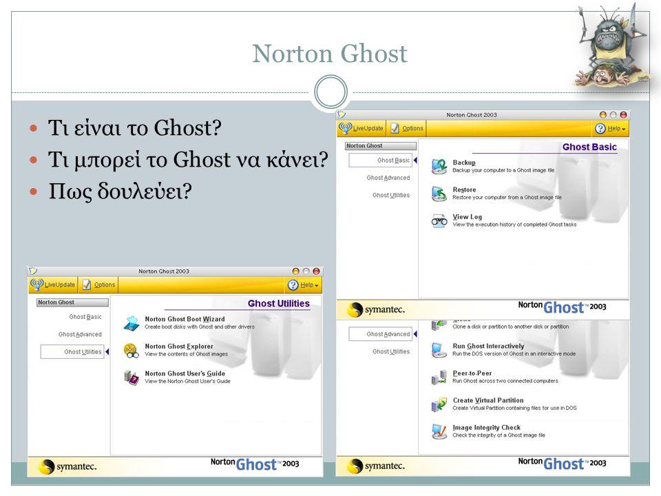 Norton Ghost  Τι είναι το Ghost?  Τι μπορεί το Ghost να κάνει?  Πως δουλεύει?