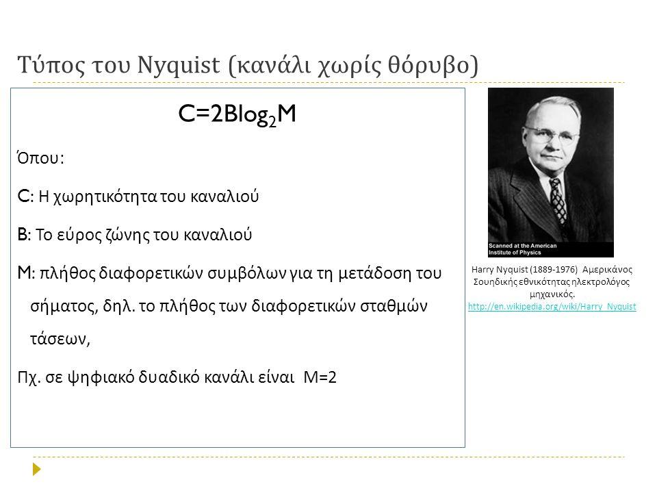 Τύπος του Nyquist ( κανάλι χωρίς θόρυβο ) C=2Blog 2 M Όπου : C: Η χωρητικότητα του καναλιού B: Το εύρος ζώνης του καναλιού M: πλήθος διαφορετικών συμβόλων για τη μετάδοση του σήματος, δηλ.