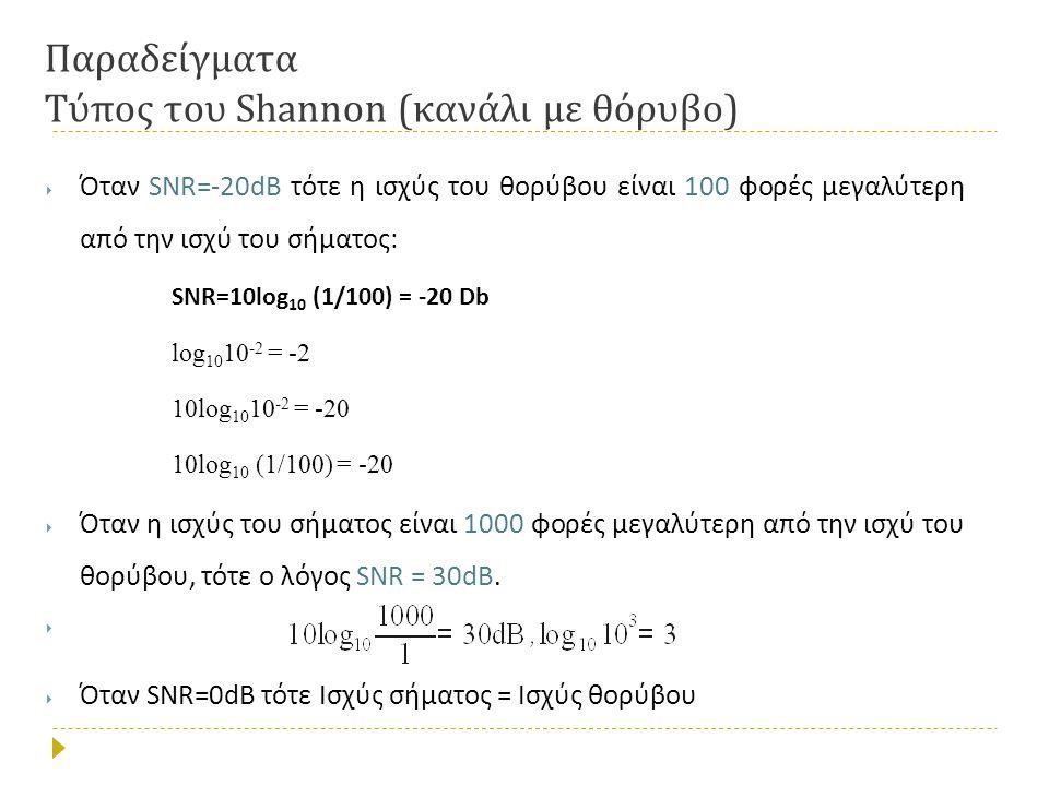 Παραδείγματα Τύπος του Shannon ( κανάλι με θόρυβο )  Όταν SNR=-20dB τότε η ισχύς του θορύβου είναι 100 φορές μεγαλύτερη από την ισχύ του σήματος : SNR=10log 10 (1/100) = -20 Db log 10 10 -2 = -2 10log 10 10 -2 = -20 10log 10 (1/100) = -20  Όταν η ισχύς του σήματος είναι 1000 φορές μεγαλύτερη από την ισχύ του θορύβου, τότε ο λόγος SNR = 30dB.