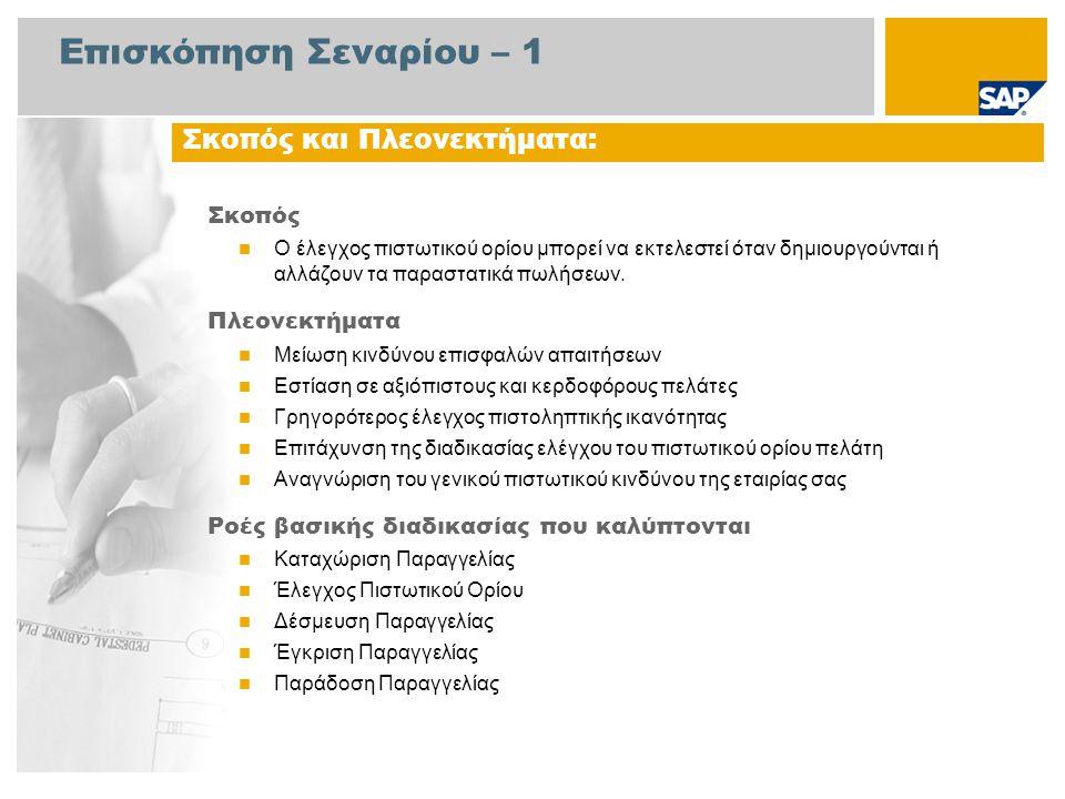 Επισκόπηση Σεναρίου – 2 Απαιτείται  Το πακέτο βελτίωσης 4 του SAP για SAP ERP 6.0 Ρόλοι εταιρίας στις ροές διαδικασίας  Διαχειριστής Τιμολόγησης  Διαχειριστής Εισπρακτέων Λογ/σμών Εφαρμογές SAP που Απαιτούνται: