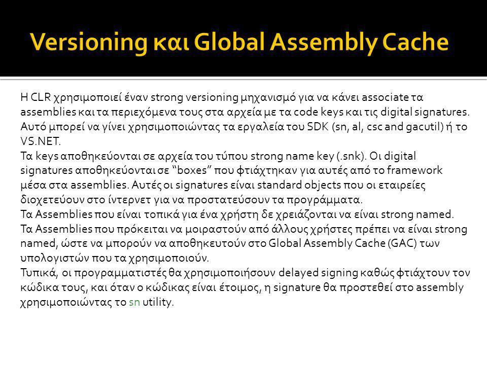 Η CLR χρησιμοποιεί έναν strong versioning μηχανισμό για να κάνει associate τα assemblies και τα περιεχόμενα τους στα αρχεία με τα code keys και τις di