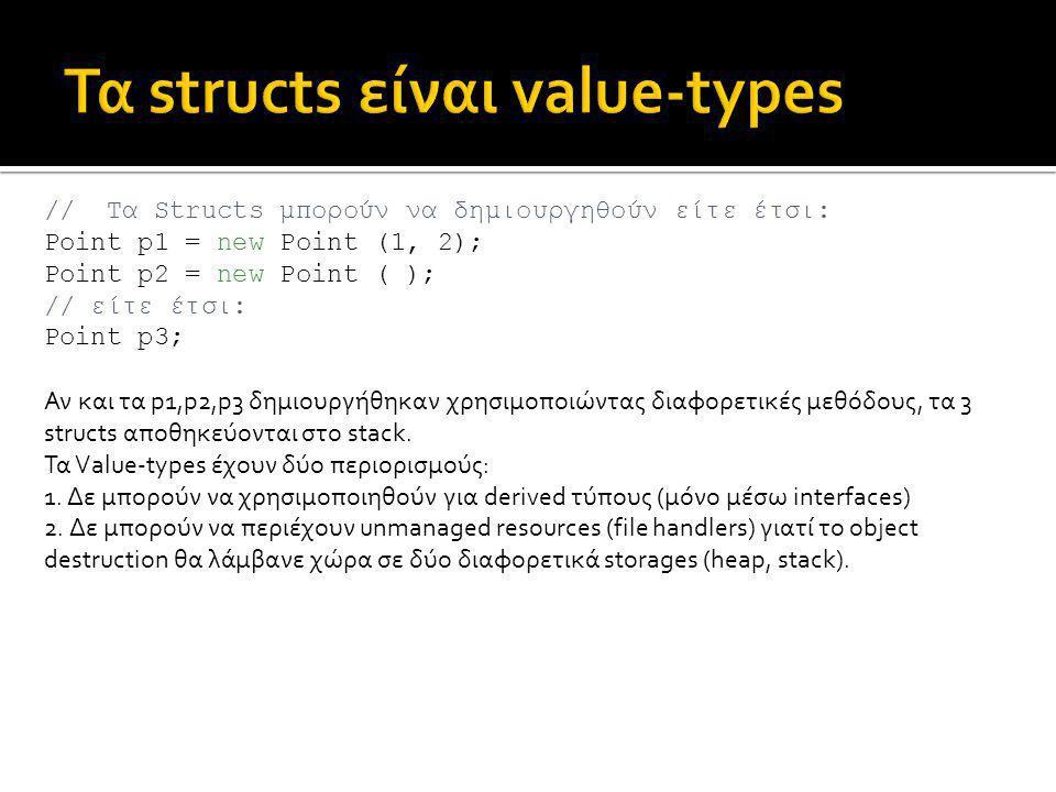 // Τα Structs μπορούν να δημιουργηθούν είτε έτσι: Point p1 = new Point (1, 2); Point p2 = new Point ( ); // είτε έτσι: Point p3; Αν και τα p1,p2,p3 δημιουργήθηκαν χρησιμοποιώντας διαφορετικές μεθόδους, τα 3 structs αποθηκεύονται στο stack.