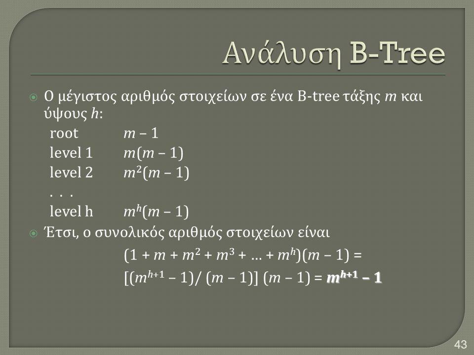  Ο μέγιστος αριθμός στοιχείων σε ένα B-tree τάξης m και ύψους h: rootm – 1 level 1m(m – 1) level 2m 2 (m – 1)... level hm h (m – 1) m h+1 – 1  Έτσι,