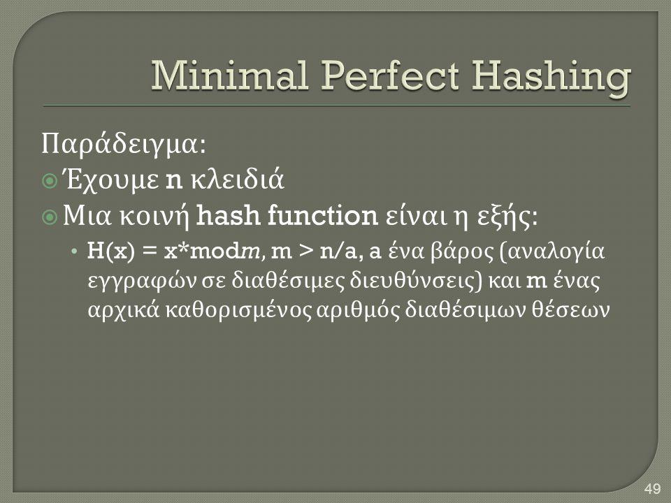 Παράδειγμα :  Έχουμε n κλειδιά  Μια κοινή hash function είναι η εξής : • H(x) = x*modm, m > n/a, a ένα βάρος ( αναλογία εγγραφών σε διαθέσιμες διευθ