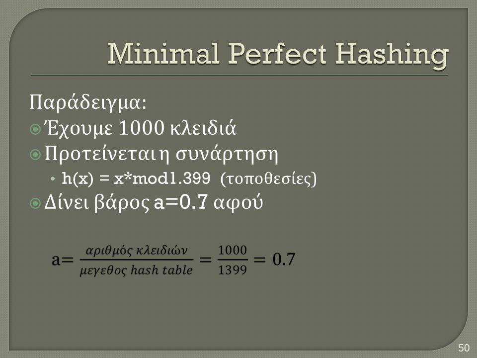 Παράδειγμα :  Έχουμε 1000 κλειδιά  Προτείνεται η συνάρτηση • h(x) = x*mod1.399 ( τοποθεσίες )  Δίνει βάρος a=0.7 αφού 50