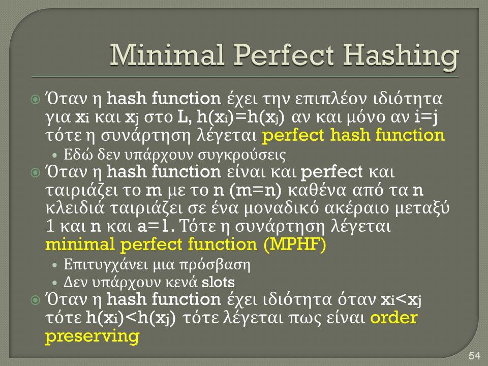  Όταν η hash function έχει την επιπλέον ιδιότητα για x i και x j στο L, h(x i )=h(x j ) αν και μόνο αν i=j τότε η συνάρτηση λέγεται perfect hash func
