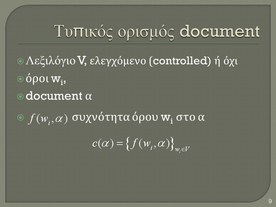 9  Λεξιλόγιο V, ελεγχόμενο (controlled) ή όχι  όροι w i,  document α  συχνότητα όρου w i στο α