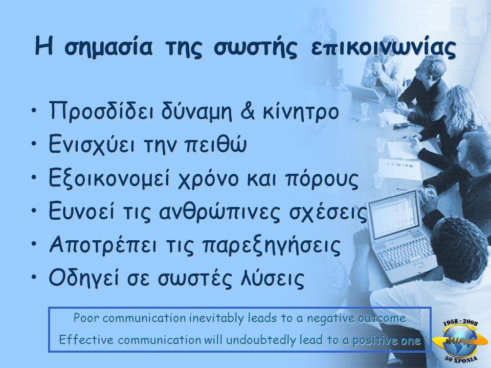 Η σημασία της σωστής επικοινωνίας •Προσδίδει δύναμη & κίνητρο •Ενισχύει την πειθώ •Εξοικονομεί χρόνο και πόρους •Ευνοεί τις ανθρώπινες σχέσεις •Αποτρέπει τις παρεξηγήσεις •Οδηγεί σε σωστές λύσεις Poor communication inevitably leads to a negative outcome Effective communication will undoubtedly lead to a positive one