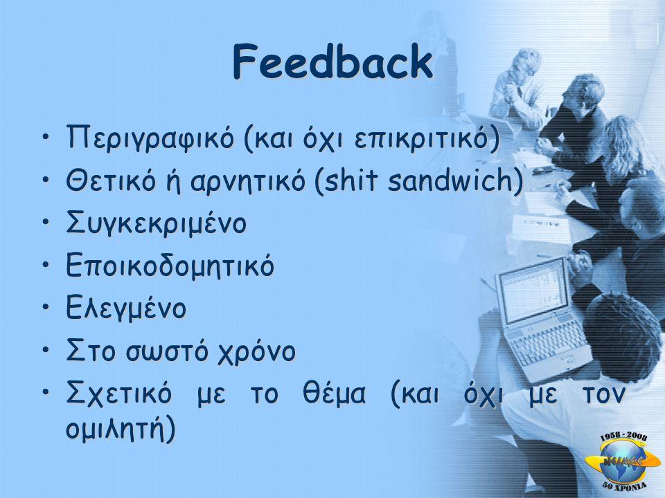 Feedback •Περιγραφικό (και όχι επικριτικό) •Θετικό ή αρνητικό (shit sandwich) •Συγκεκριμένο •Εποικοδομητικό •Ελεγμένο •Στο σωστό χρόνο •Σχετικό με το θέμα (και όχι με τον ομιλητή)