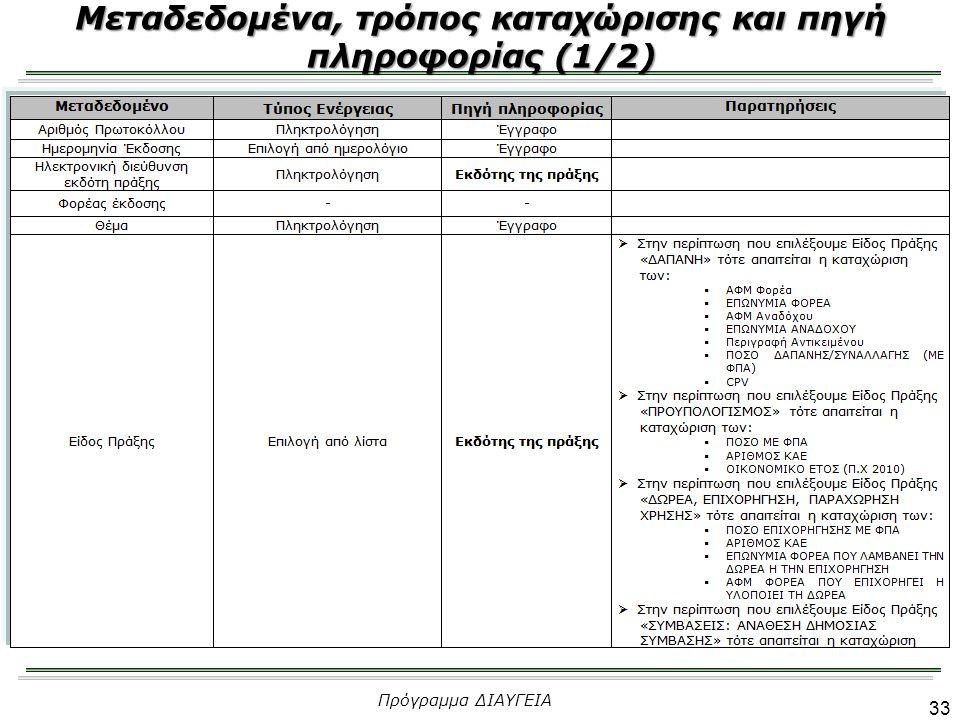 34 Μεταδεδομένα, τρόπος καταχώρισης και πηγή πληροφορίας (2/2) Πρόγραμμα ΔΙΑΥΓΕΙΑ