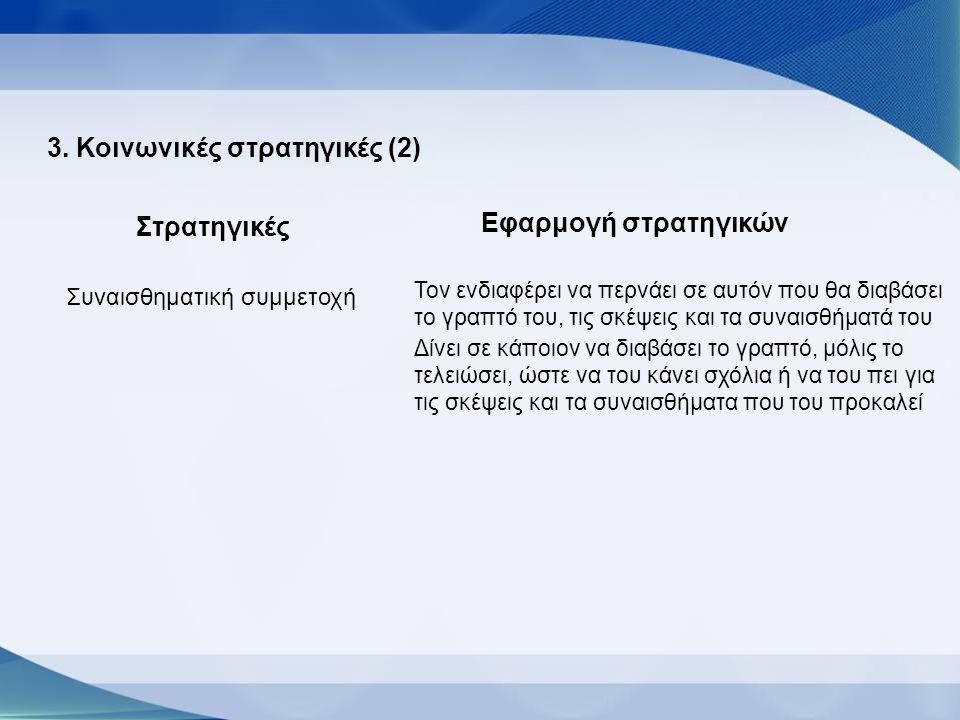 3. Κοινωνικές στρατηγικές (2) Στρατηγικές Εφαρμογή στρατηγικών Συναισθηματική συμμετοχή Τον ενδιαφέρει να περνάει σε αυτόν που θα διαβάσει το γραπτό τ