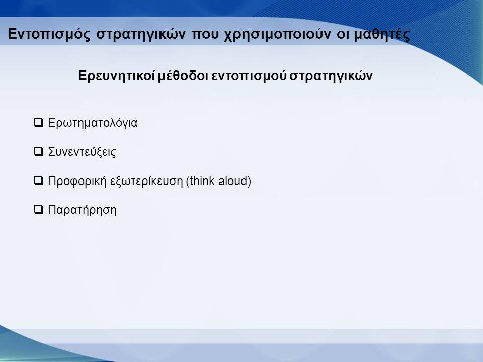 Εντοπισμός στρατηγικών που χρησιμοποιούν οι μαθητές Ερευνητικοί μέθοδοι εντοπισμού στρατηγικών  Ερωτηματολόγια  Συνεντεύξεις  Προφορική εξωτερίκευση (think aloud)  Παρατήρηση