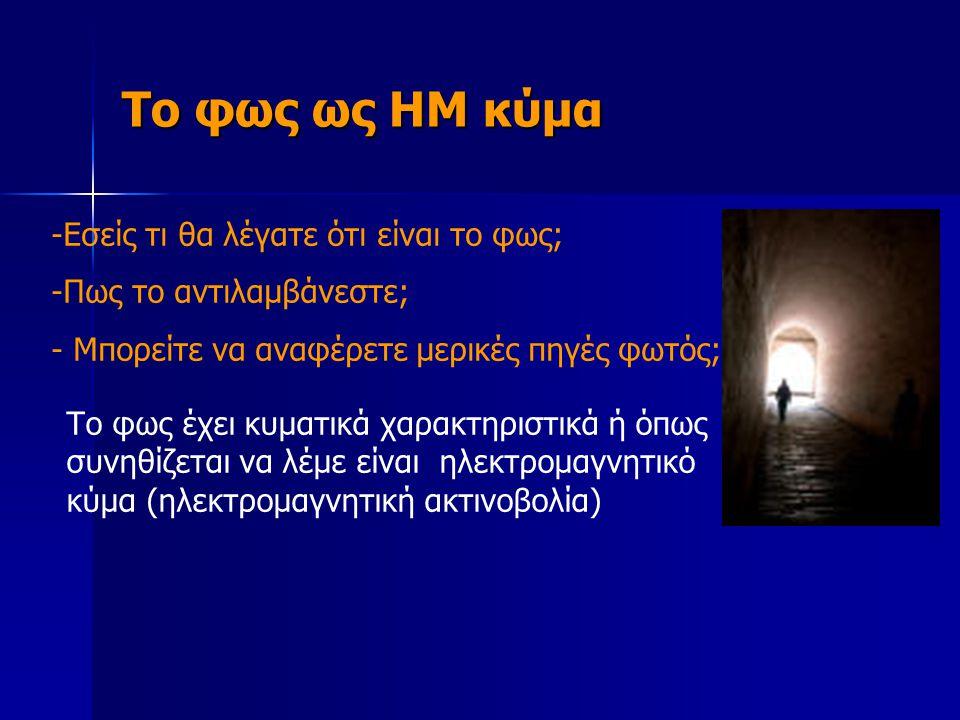 Το φως ως ΗΜ κύμα -Εσείς τι θα λέγατε ότι είναι το φως; -Πως το αντιλαμβάνεστε; - Μπορείτε να αναφέρετε μερικές πηγές φωτός; Το φως έχει κυματικά χαρα