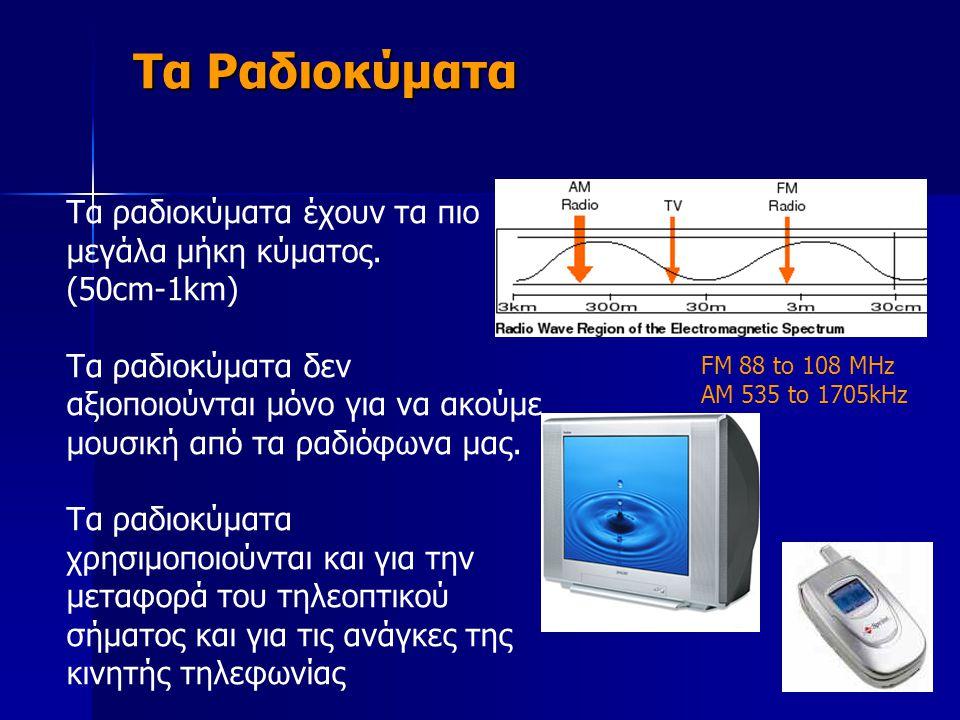 Τα ραδιοκύματα έχουν τα πιο μεγάλα μήκη κύματος. (50cm-1km) Τα ραδιοκύματα δεν αξιοποιούνται μόνο για να ακούμε μουσική από τα ραδιόφωνα μας. Τα ραδιο