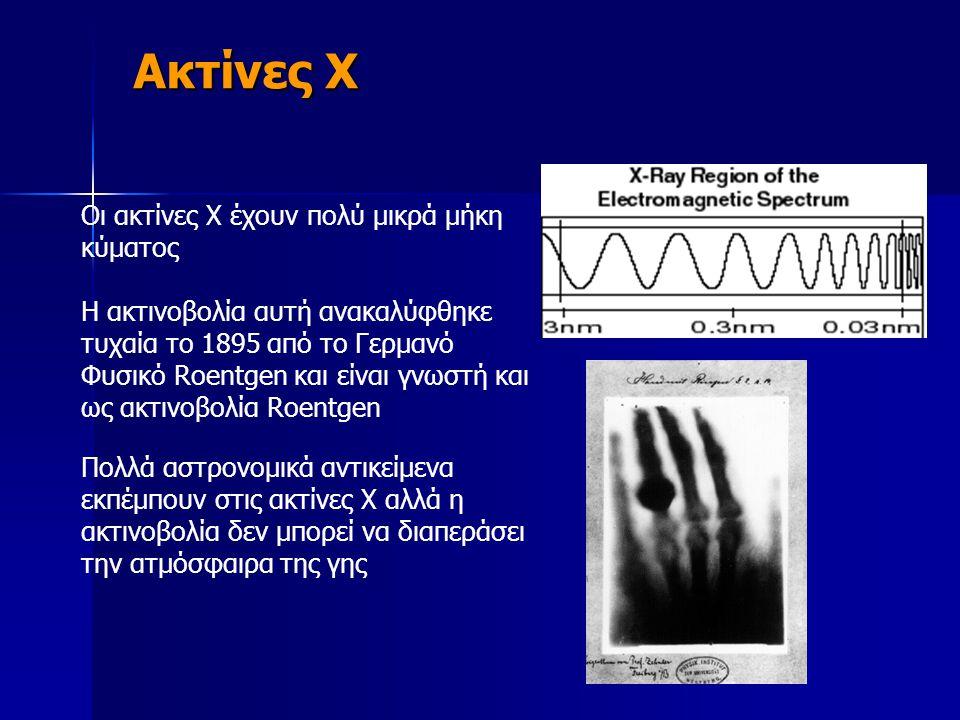 Οι ακτίνες Χ έχουν πολύ μικρά μήκη κύματος Η ακτινοβολία αυτή ανακαλύφθηκε τυχαία το 1895 από το Γερμανό Φυσικό Roentgen και είναι γνωστή και ως ακτιν
