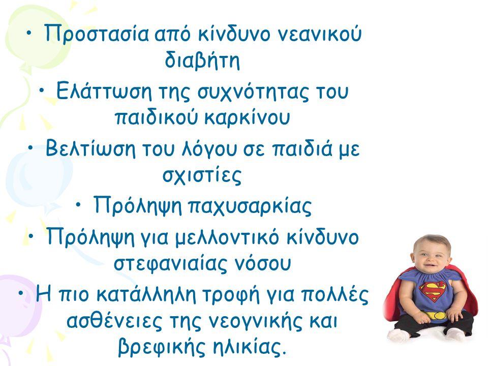 •Προστασία από κίνδυνο νεανικού διαβήτη •Ελάττωση της συχνότητας του παιδικού καρκίνου •Βελτίωση του λόγου σε παιδιά με σχιστίες •Πρόληψη παχυσαρκίας •Πρόληψη για μελλοντικό κίνδυνο στεφανιαίας νόσου •Η πιο κατάλληλη τροφή για πολλές ασθένειες της νεογνικής και βρεφικής ηλικίας.