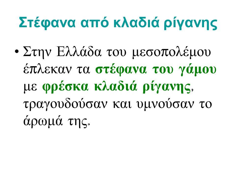Στέφανα από κλαδιά ρίγανης • Στην Ελλάδα του μεσο π ολέμου έ π λεκαν τα στέφανα του γάμου με φρέσκα κλαδιά ρίγανης, τραγουδούσαν και υμνούσαν το άρωμά