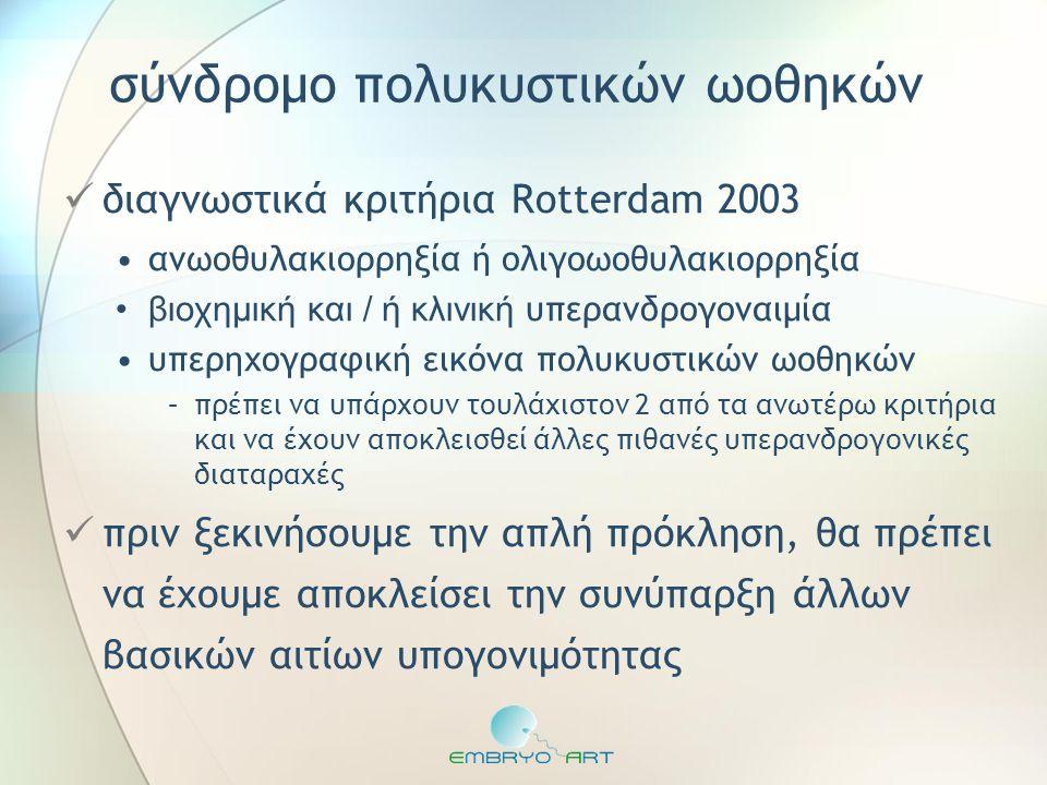σύνδρομο πολυκυστικών ωοθηκών  διαγνωστικά κριτήρια Rotterdam 2003 •ανωοθυλακιορρηξία ή ολιγοωοθυλακιορρηξία •βιοχημική και / ή κλινική υπερανδρογονα
