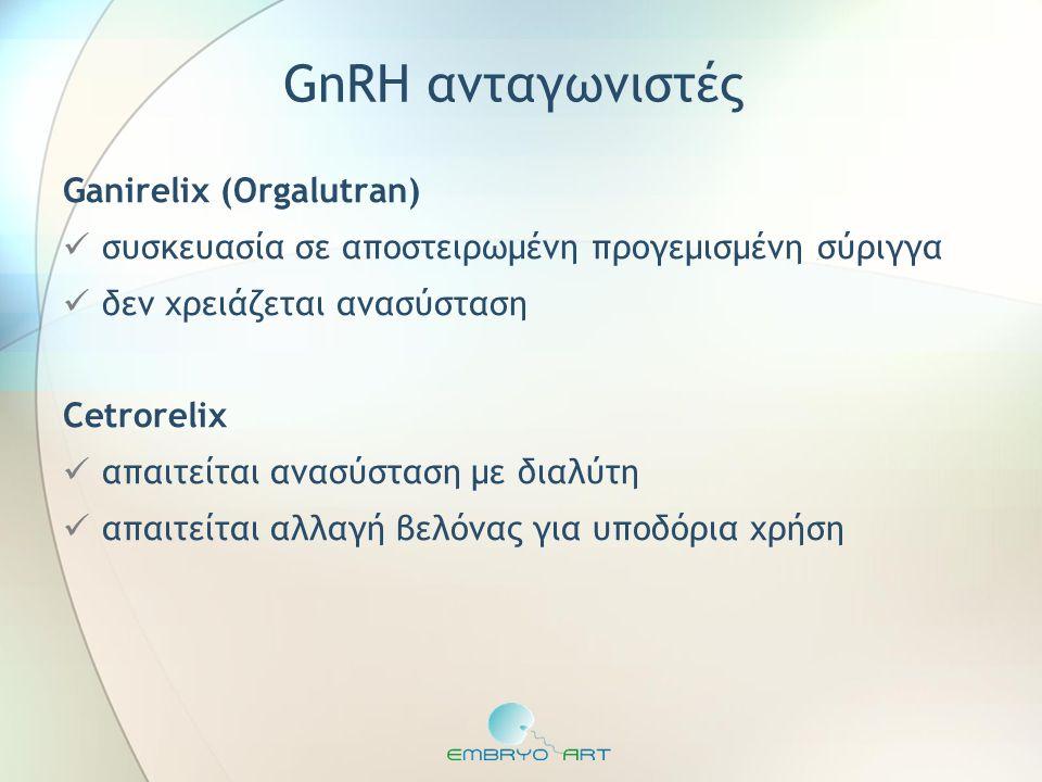 GnRH ανταγωνιστές Ganirelix (Orgalutran)  συσκευασία σε αποστειρωμένη προγεμισμένη σύριγγα  δεν χρειάζεται ανασύσταση Cetrorelix  απαιτείται ανασύσ