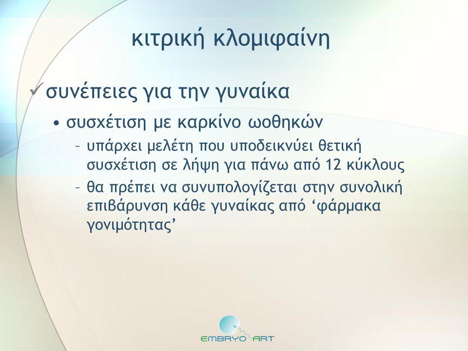 σύνδρομο πολυκυστικών ωοθηκών  πρόκληση με κιτρική κλομιφαίνη •αποτελεσματικότητα –75-80% των γυναικών με PCOS θα κάνουν ωοθυλακιορρηξία με CC –σε αυτές τις γυναίκες: ποσοστό σύλληψης 22% ανά κύκλο •διάρκεια θεραπείας –maximum 6 κύκλοι –αθροιστική πιθανότης γέννησης σε 6 κύκλους: 50-60% CC 1 2 3 4 5 6 7 hCG ή LH surge