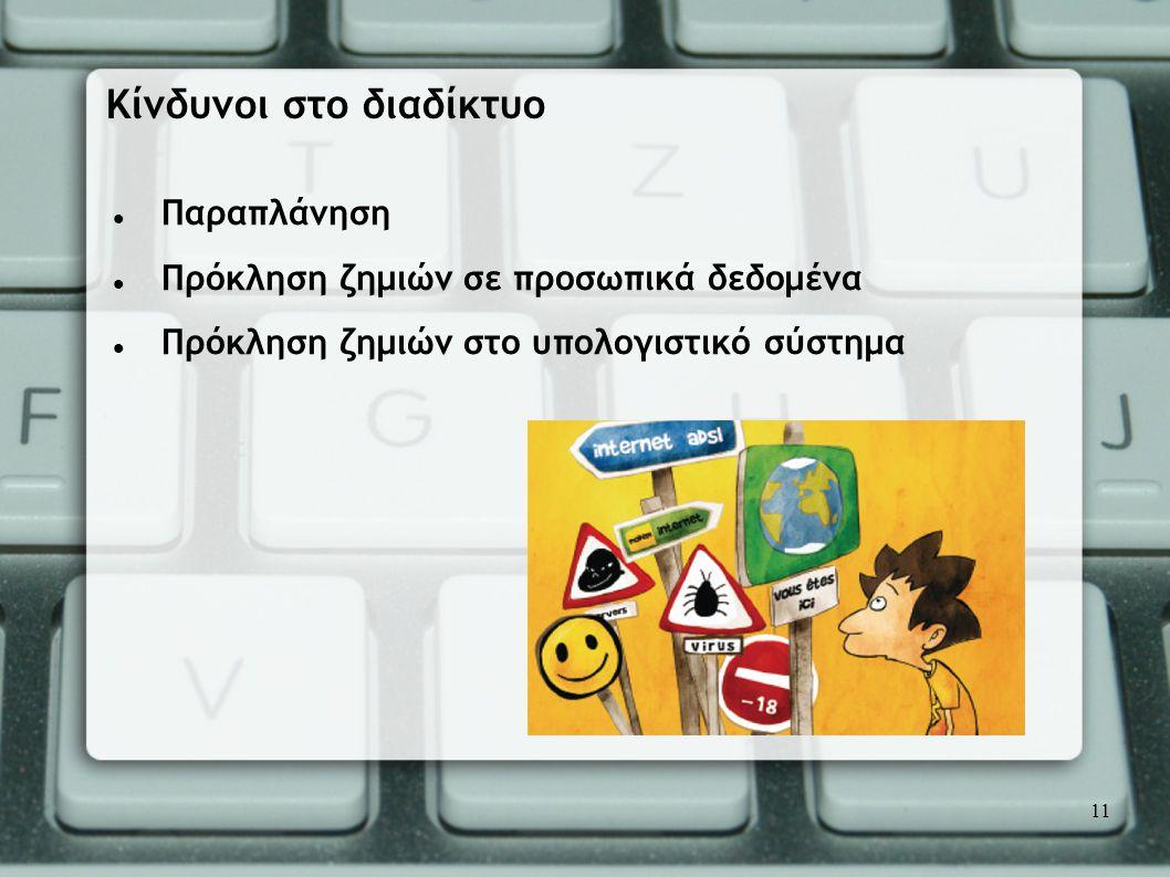  Παραπλάνηση  Πρόκληση ζημιών σε προσωπικά δεδομένα  Πρόκληση ζημιών στο υπολογιστικό σύστημα Κίνδυνοι στο διαδίκτυο 11