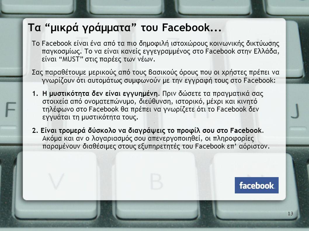 Το Facebook είναι ένα από τα πιο δημοφιλή ιστοχώρους κοινωνικής δικτύωσης παγκοσμίως. Το να είναι κανείς εγγεγραμμένος στο Facebook στην Ελλάδα, είναι
