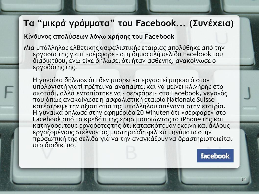 Κίνδυνος απολύσεων λόγω χρήσης του Facebook Μια υπάλληλος ελβετικής ασφαλιστικής εταιρίας απολύθηκε από την εργασία της γιατί «σέρφαρε» στη δημοφιλή σ
