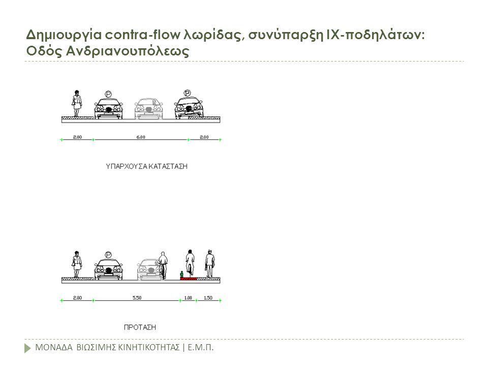 Δημιουργία contra-flow λωρίδας, συνύπαρξη ΙΧ-ποδηλάτων: Οδός Ανδριανουπόλεως ΜΟΝΑΔΑ ΒΙΩΣΙΜΗΣ ΚΙΝΗΤΙΚΟΤΗΤΑΣ | Ε.Μ.Π.