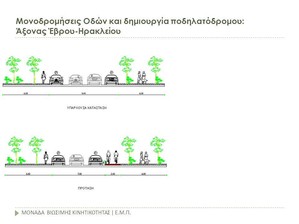 Μονοδρομήσεις Οδών και δημιουργία ποδηλατόδρομου: Άξονας Έβρου-Ηρακλείου ΜΟΝΑΔΑ ΒΙΩΣΙΜΗΣ ΚΙΝΗΤΙΚΟΤΗΤΑΣ | Ε.Μ.Π.