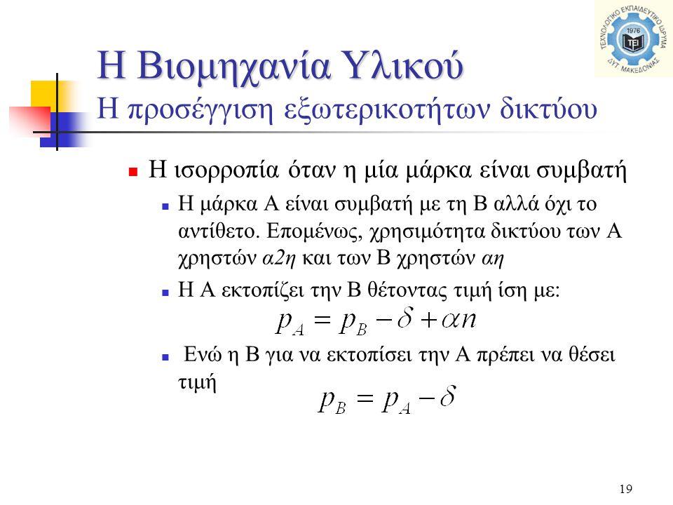 19  Η ισορροπία όταν η μία μάρκα είναι συμβατή  Η μάρκα Α είναι συμβατή με τη Β αλλά όχι το αντίθετο. Επομένως, χρησιμότητα δικτύου των Α χρηστών α2