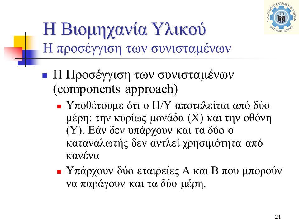 21  Η Προσέγγιση των συνισταμένων (components approach)  Υποθέτουμε ότι ο Η/Υ αποτελείται από δύο μέρη: την κυρίως μονάδα (Χ) και την οθόνη (Υ). Εάν